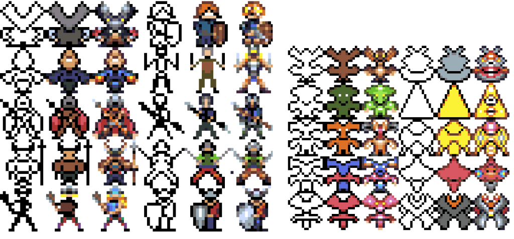 Characters warriors and various pixelart