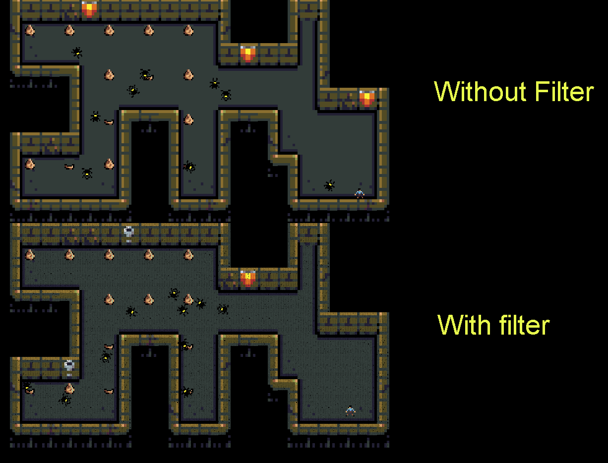 Pixel art with and without filter.