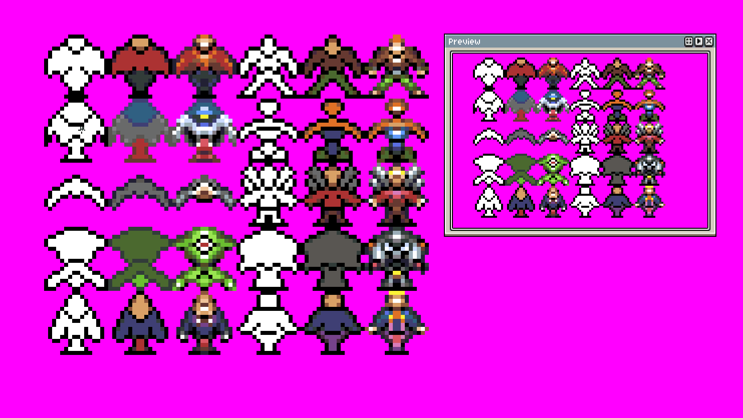 10 sprite characters in 3 steps