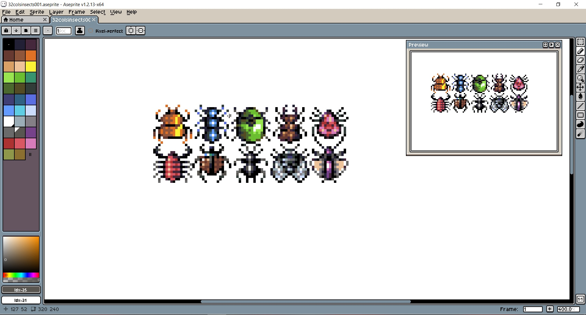 Insects spritesheet in aseprite