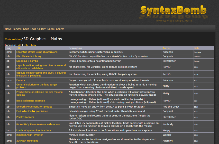 Syntax Bomb Code Archives