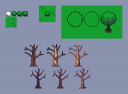 Pixel art trees and bush